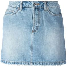 Marc By Marc Jacobs Denim Mini Skirt ($124) ❤ liked on Polyvore featuring skirts, mini skirts, bottoms, saias, faldas, blue, blue denim skirt, denim miniskirt, blue skirt and short skirts