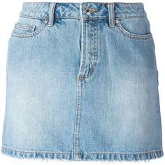 Marc By Marc Jacobs Denim Mini Skirt ($119) ❤ liked on Polyvore featuring skirts, mini skirts, bottoms, saias, faldas, blue, denim skirt, short skirts, blue mini skirt and blue denim skirt