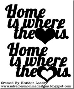 Free 'Home is where the ♥ is' svg cutting file