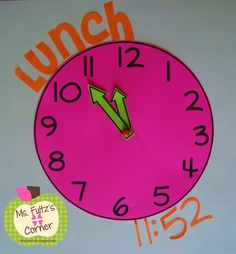 Cute classroom clocks for decor, organization, and math practice from Ms. Fultz's Corner. $