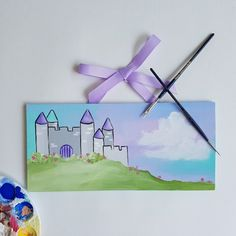 New Design Alert! Perfect for your little princess! Featuring a pretty castle, and your little one's name, of course.