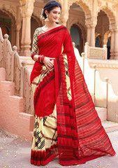 Hot Red and Cream South Silk Saree - https://www.ethanica.com/products/hot-red-and-cream-south-silk-saree