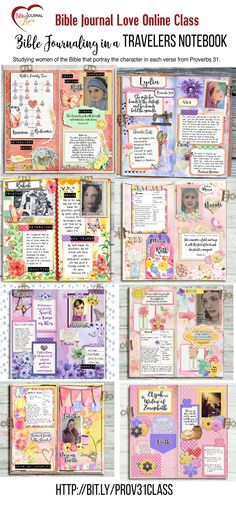 Proverbs 31 & Bible Women online Bible Study Includes well over $50 in printables! 22 Lessons: for each lesson we make a Travelers Notebook spread. #Travelersnotebook #Midori #BibleJournaling #Proverbs31TN