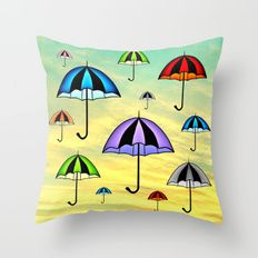 "Colorful umbrellas flying in the sky #Bedding  #Home  #art  #digital  #draft,  #comic #sky #shopping #umbrella #roomdecor   Throw Pillow Pillow  #made from 100% spun polyester poplin fabric, a stylish statement that will liven up any room. Individually cut and sewn by hand, the pillow measures 16"" x 16"", features a double-sided print and is finished with a concealed zipper for ease of care. Includes faux down pillow insert."