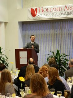 Lt. Gov. Brian Calley speaks Tuesday morning at a Holland Area Chamber of Commerce Early Bird Breakfast. 3/13/12