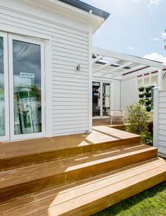 Take a final tour through The Block NZ villas - Timber Pergola, Outdoor Pergola, Pergola Plans, White Exterior Houses, Exterior House Colors, Beach Bungalow Exterior, Weatherboard House, House Cladding, Bungalow Renovation