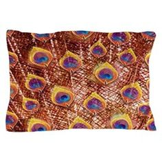 Rusty Bird Peacock Feathers Pillow Case