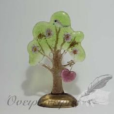 Δέντρο από χυτό γυαλί σε μπρούντζινη βάση με καρδούλα