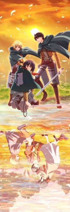 Admin, Mikasa and Eren reflection in the water of the past and now