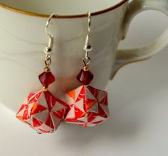 Red Paper Cube Earrings Geometric Origami Jewelry by JustFolds, $9.00