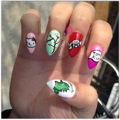 Nail polish hello kitty cherry blossoms sushi Godzilla stiletto  nails