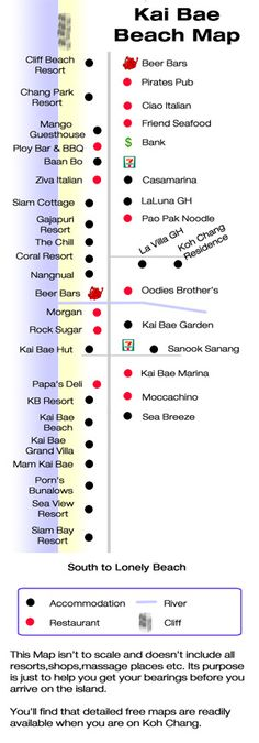 Here is a nice and easy to follow Koh Chang map of Kai Bae area resorts, restaurants, and other establishments. Notice Sea View Resort & Spa near the bottom on the way to Lonely Beach.