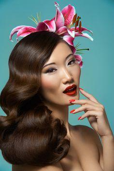 Asian woman pin up style makeup and hair