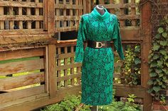 Vintage 1980's Kelly / Teal Green Cowl Neck Tunic Dress