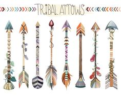 Tribal Feathers Clipart - Set of 31 Vector, PNG & JPG Files - Unique, Beautiful Boho Feather Clip Art in Coral, Navy, Mint and Gold Arrow Feather, Tribal Feather, Tribal Arrows, Arrow Clipart, Vector Clipart, Tribal Animals, Clip Art, Arrow Tattoos, Tatoos