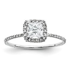 Unique Diamond Antique Eternity Princess Cut with Cushion Halo Engagement Ring 14K White Gold on Etsy, $677.06 CAD