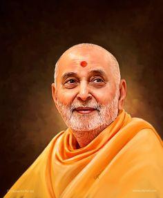 Self digital portrait painting of HDH Pramukh Swami Maharaj - Spiritual leader of BAPS Swaminarayan - the main sect in Hinduism #India