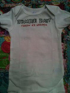 Zombie Bait baby onsie by SealedWithAStitch2 on Etsy, $15.00