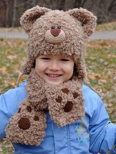 Kniting Teddy Bear Hat  Hat Character  Boy hat  by MeetBestKnit