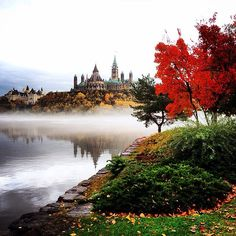 A foggy fall morning with the Parliament Buildings in the distance. Photo by Canada Eh, Visit Canada, Ottawa Tourism, Ottawa River, Ontario Travel, Beautiful Places, Fall, Autumn, Pictures