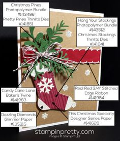 Hang Your Stocking Stamp Set & Christmas Stockings Thinlits Dies holiday card. Mary Fish, Stampin' Up! Demonstrator. 1000+ StampinUp & SUO card ideas. Read more http://stampinpretty.com/2016/11/christmas-stockings-to-die-for-new-host-code.html