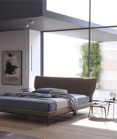 Double leather bed MAYA by @Alicia Varrelmann | #Design Giuseppe Bavuso #bedroom #interiors #window