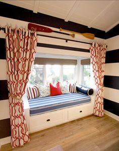 Modern Bunk Beds, Coastal Bedrooms, Cottage Bedrooms, Rustic Bedrooms, Nautical Home, Nautical Colors, Nautical Bedroom, Bold Colors, Lake Cottage