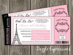 Paris Boarding Pass Birthday Invitation FREE by DazzleExpressions