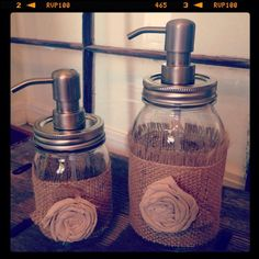 Shabby Chic Burlap and Linen Mason Jar Soap Dispenser Set. pump can be bought at Lowe's
