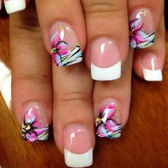 beautiful nail drt designs just for you 2016 - style you 7 Nail Art Designs 2016, Hot Nail Designs, Flower Nail Designs, French Nail Designs, Flower Nail Art, Pretty Designs, Tropical Flower Nails, Tropical Nail Designs, Cruise Nails