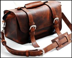 Leather Doctor Bag Professional bag and Carry all bag in Full Grain Mustang - The Goliath. $549.99, via Etsy.