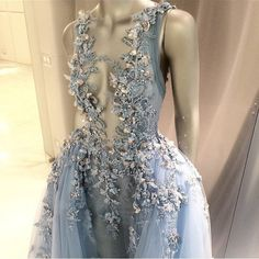 Dress: prom dress, ball, ball gown dress, blue, crystal, backless prom dress, vneeck, ice cold, pll ice ball, gown, blue prom dress - Wheretoget