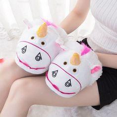 New Unisex Winter Cute Cartoon Warm Indoor Slippers Plush Unicorn Slippers