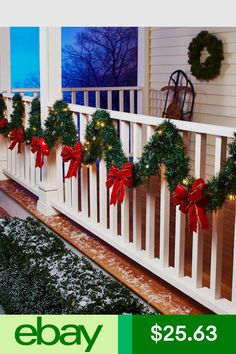 wreaths garlands plants home garden ebay porch garland outdoor - Christmas Porch Railing Decorations