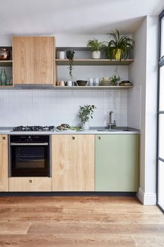 Close up of our Sweet Chestnut & khaki kitchen cabinets with contrasting square handles Plywood Kitchen, Wooden Kitchen, Kitchen Shelves, Kitchen Cabinets, Modern Cabinets, Kitchen Dinning, New Kitchen, Kitchen Decor, One Wall Kitchen