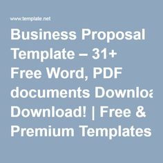 Business Proposal Template – 31+ Free Word, PDF documents Download! | Free & Premium Templates
