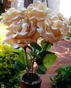 Rosas de palha de milho natural.