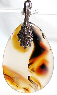 Montana Agate Cabochon with bail Plume Agate by FenderMinerals,