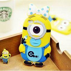 Iphone 4 (S) hoesje Minion 1 Eye  Blauw Me Girl