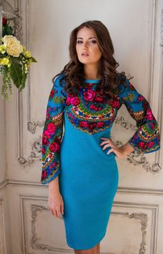 """Elegant dress """"Russian field"""" in Russian style, combined with a scarf crocheted fabrics Ethnic Fashion, Hijab Fashion, Fashion Dresses, Womens Fashion, 15 Dresses, Elegant Dresses, Beautiful Dresses, Mode Russe, Russian Fashion"""