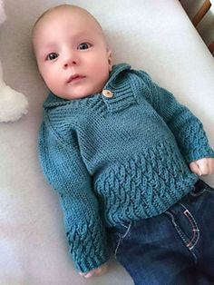 Ravelry: Boy Sweater pattern by Lisa Chemery Baby Boy Knitting Patterns Free, Baby Booties Knitting Pattern, Baby Cardigan Knitting Pattern, Knitting For Kids, Crochet For Boys, Crochet Baby, Layette Pattern, Sleeves Designs For Dresses, Boys Sweaters
