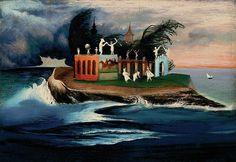 Mysterious Island by Tivadar Kosztka Csontvary Kos, Building Art, Post Impressionism, Fantastic Art, Renoir, Surreal Art, Artist Painting, Love Art, Oeuvre D'art