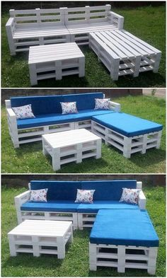 Implausible DIY Wood Pallet Furniture Ideas and Designs: No matter whether it is about indoor beauty of the house or for outdoor attraction, choosing shipping wood pallet stuff. Palette Garden Furniture, Garden Furniture Design, Diy Furniture Table, Pallet Patio Furniture, Diy Pallet Sofa, Wooden Pallet Projects, Furniture Ideas, Pallet Ideas, Pallet Headboards