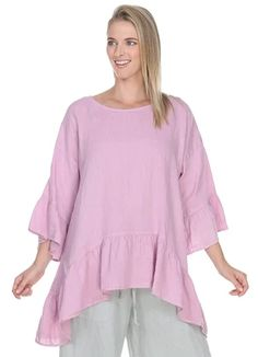 Match Point Light Weight Linen Dropped Sides Ruffle Hem Pink Lavender, Light Pink and White Match Point, Womens Linen Clothing, Point Light, Ruffle Sleeve, Pretty Woman, Pink, Bell Sleeve Top, Tunic Tops, Clothes For Women