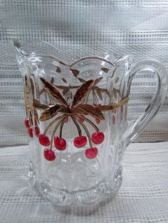 Cherry Cable Water Pitcher and goblets