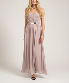 Take a look at this Mink Ruched Strapless Maxi Dress on zulily today!