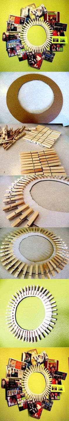 Cool DIY Room Decorations for Teens | Clothespin DIY Frame by DIY Ready at http://diyready.com/diy-projects-for-teens-bedroom/