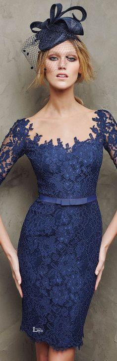 Pronovias 2016  Cocktail Dresses blue lace @roressclothes closet ideas #women fashion outfit #clothing style apparel
