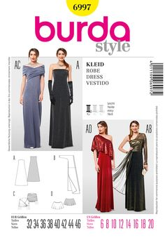 B6997 Burda Style Dress  Long, sleeveless dress. With its three accessories, it keeps obtaining an ever new look. B to be wrapped and tied, with one-sided sleeve. Sophisticated, twisted loop C. Cape D drapes loosely over the shoulders.