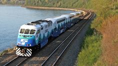 Sounder train traveling between Everett and Seattle.